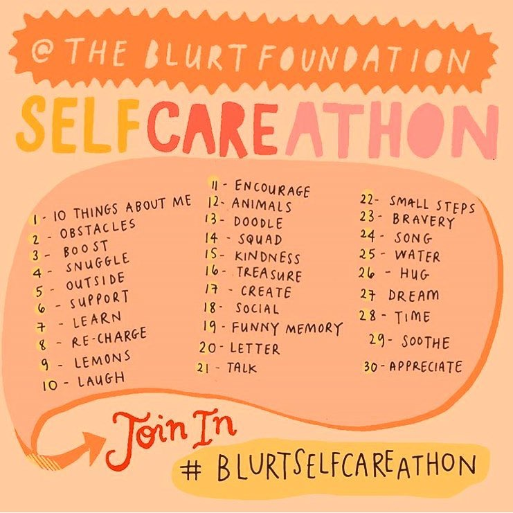 month long list of self-care exercises from The Blurt Foundation