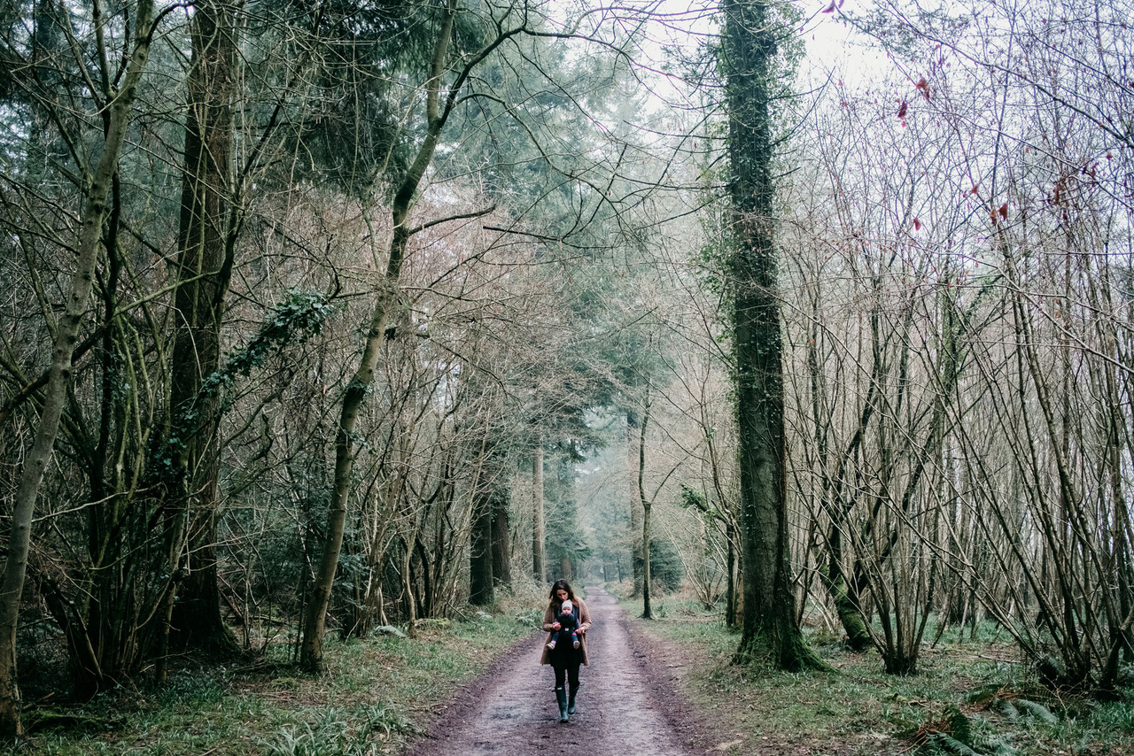 woman mother and baby in ergo baby carrier walking in woods in english countryside