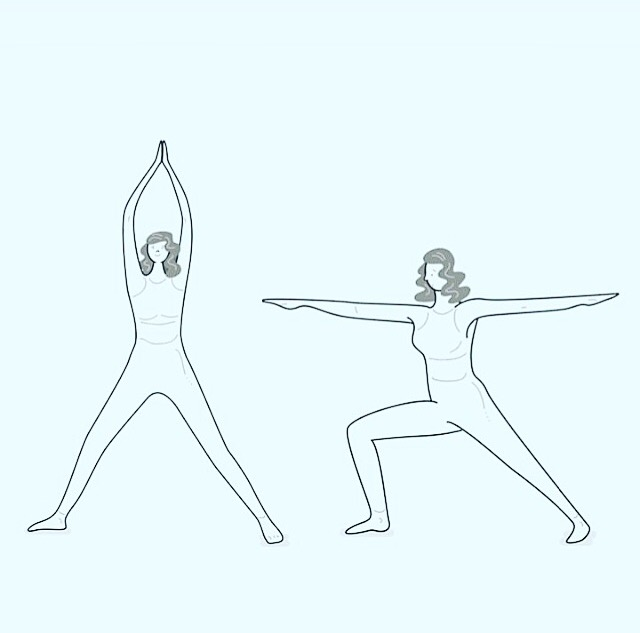illustration of woman doing yoga sequence warrior pose