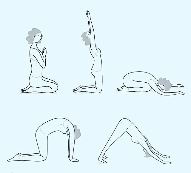 illustration of woman doing yoga sequence prayer salute