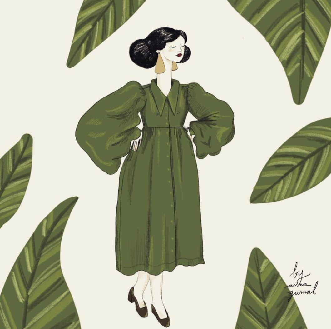 St Patrick's Day green dress stylish woman with plants